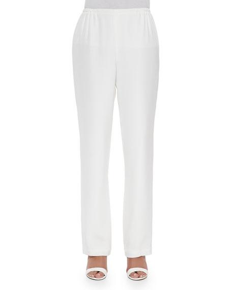 Caroline Rose Petite Silk Crepe Straight-Leg Pants, White