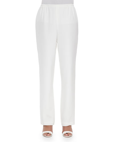 Silk Crepe Straight-Leg Pants, White, Plus Size