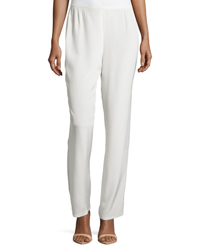 Silk Crepe Straight-Leg Pants, White