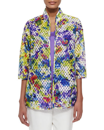 Embroidered Organza Easy Jacket, Plus Size