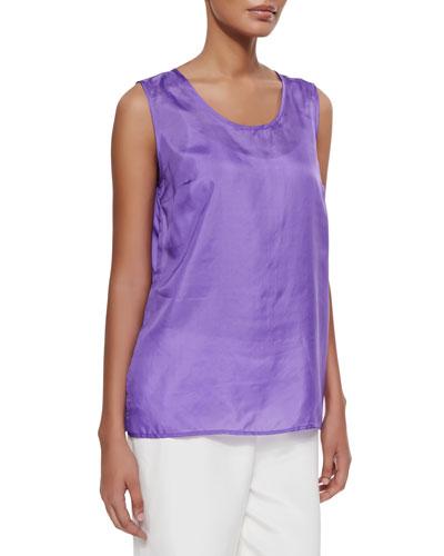 Tissue Silk Tank, Purple, Petite