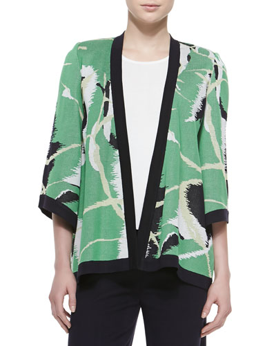 Abstract Printed Open Jacket