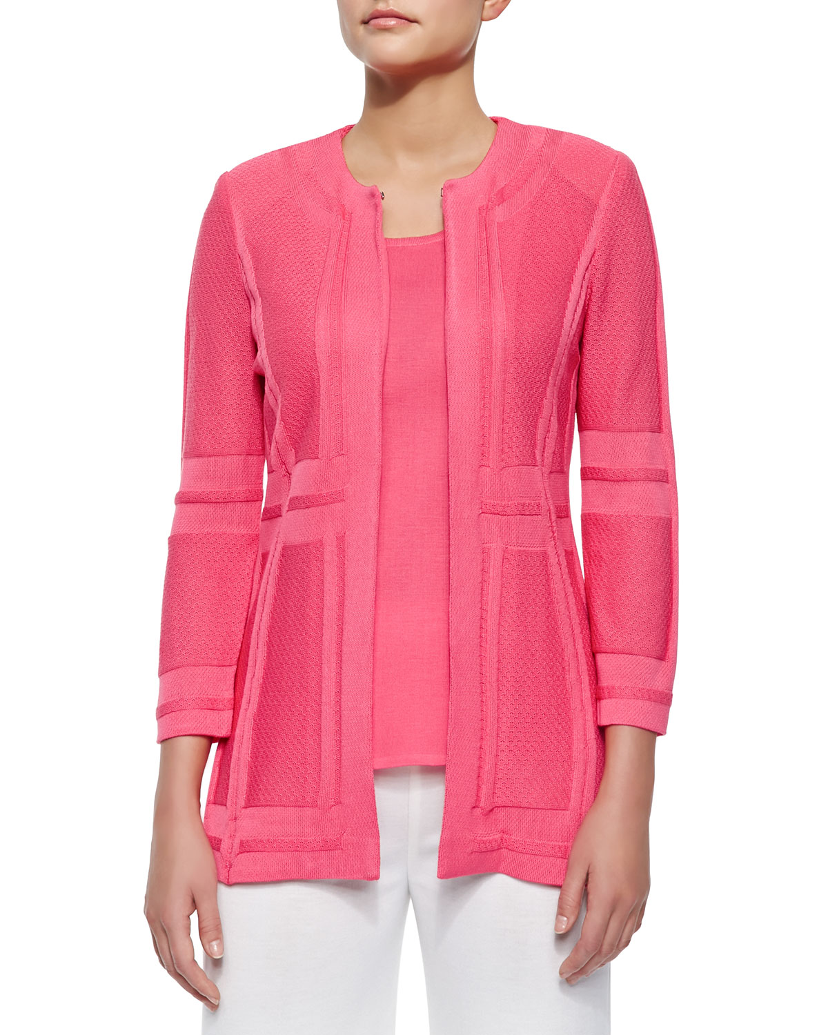 Long Paneled Knit Jacket, Papaya