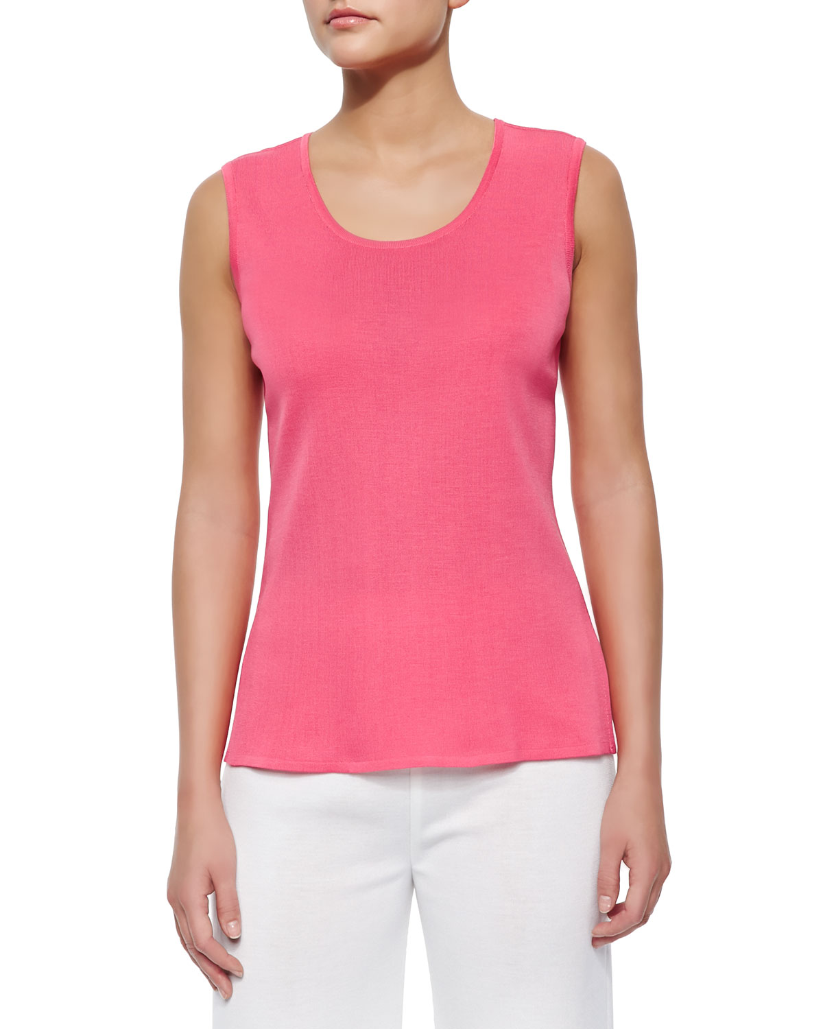 Sleeveless Long Tank, Papaya, Women's