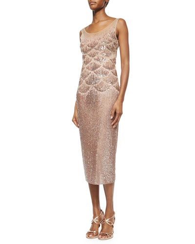 Beaded Fishscale Illusion Cocktail Dress