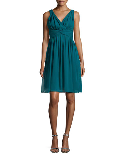 Sleeveless Chiffon Cocktail Dress, Victorian Jade