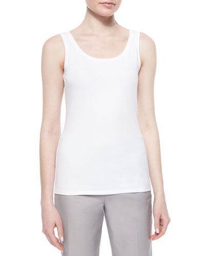 Perfect Jersey Scoop-Neck Tank, Paper White, Petite