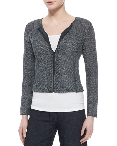Cropped Jacquard Zip-Front Jacket, Women's