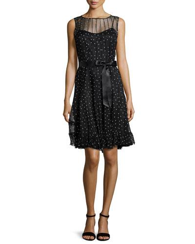 Sleeveless Polka Dot Pintucked Dress
