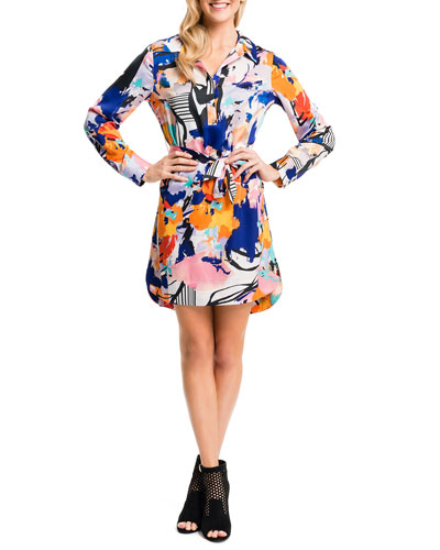 Abstract-Print Self-Tie Shirtdress, New Ivory