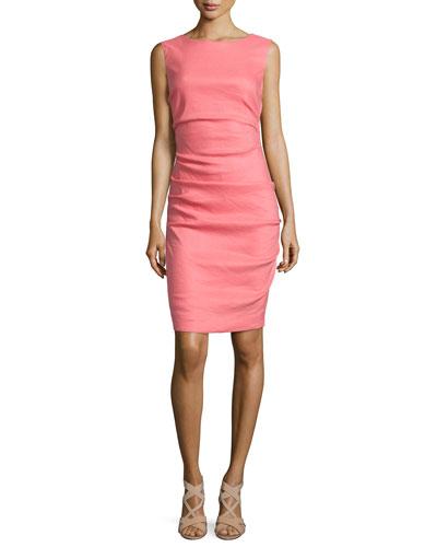 Sleeveless Ruched Linen-Blend Dress, Flamingo