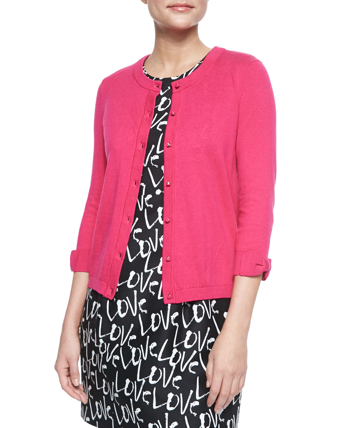 somerset bow-sleeve button-front cardigan