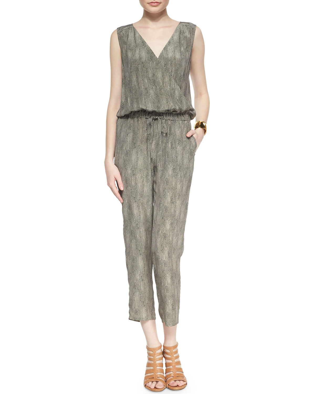 Fisher Project Sleeveless Silk Animal-Print Jumpsuit