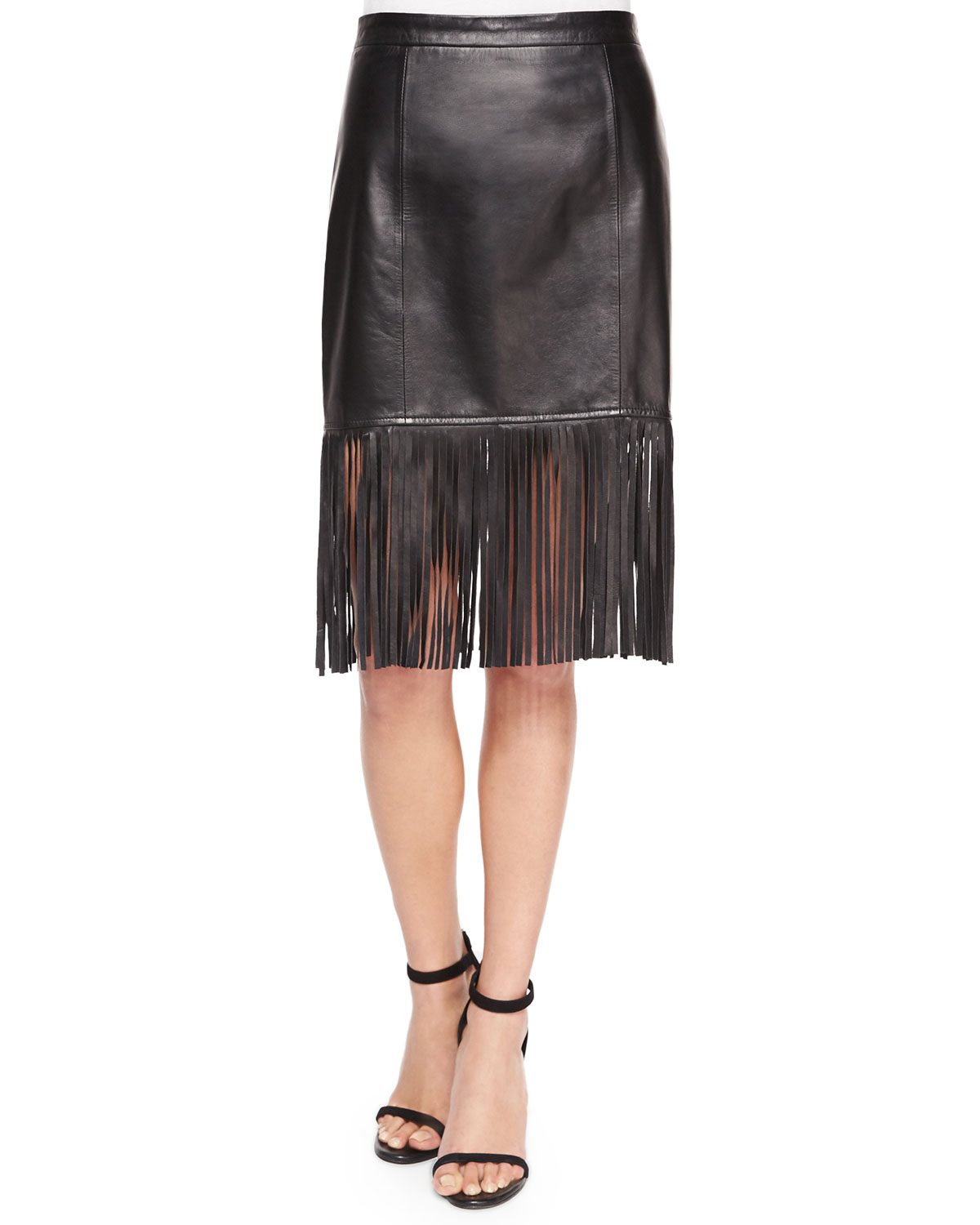 Fringe-Hem Leather Pencil Skirt