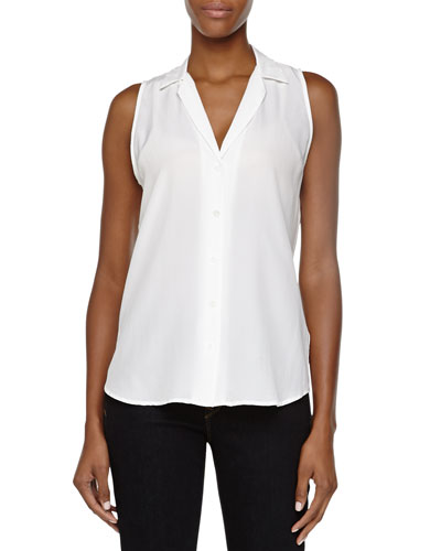 Adalyn Sleeveless Linen Blouse, White