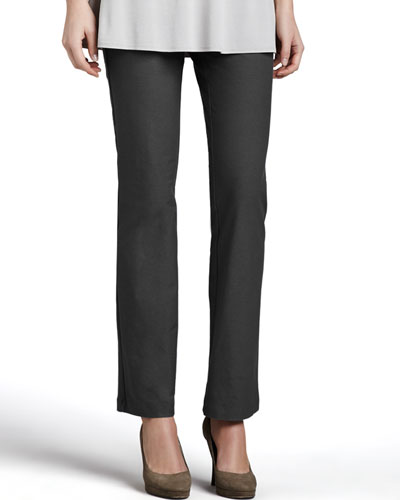 Washable Crepe Slim Boot-Cut Pants, Petite