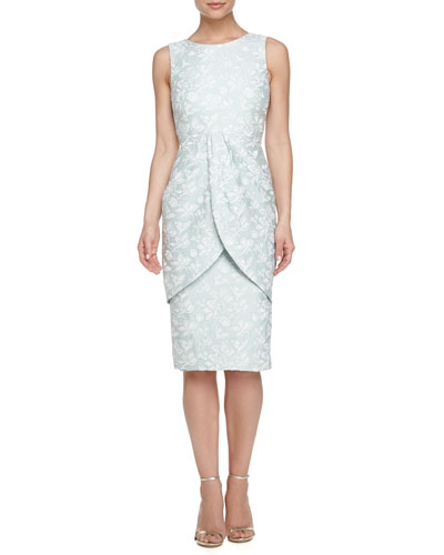 Sleeveless Jacquard Overlay Sheath Dress, Mint Multi
