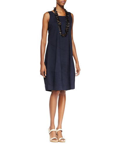 Sleeveless Linen-Stretch Lantern Dress, Navy, Petite