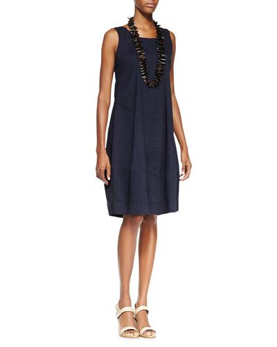 Sleeveless Linen-Stretch Lantern Dress, Navy, Petite