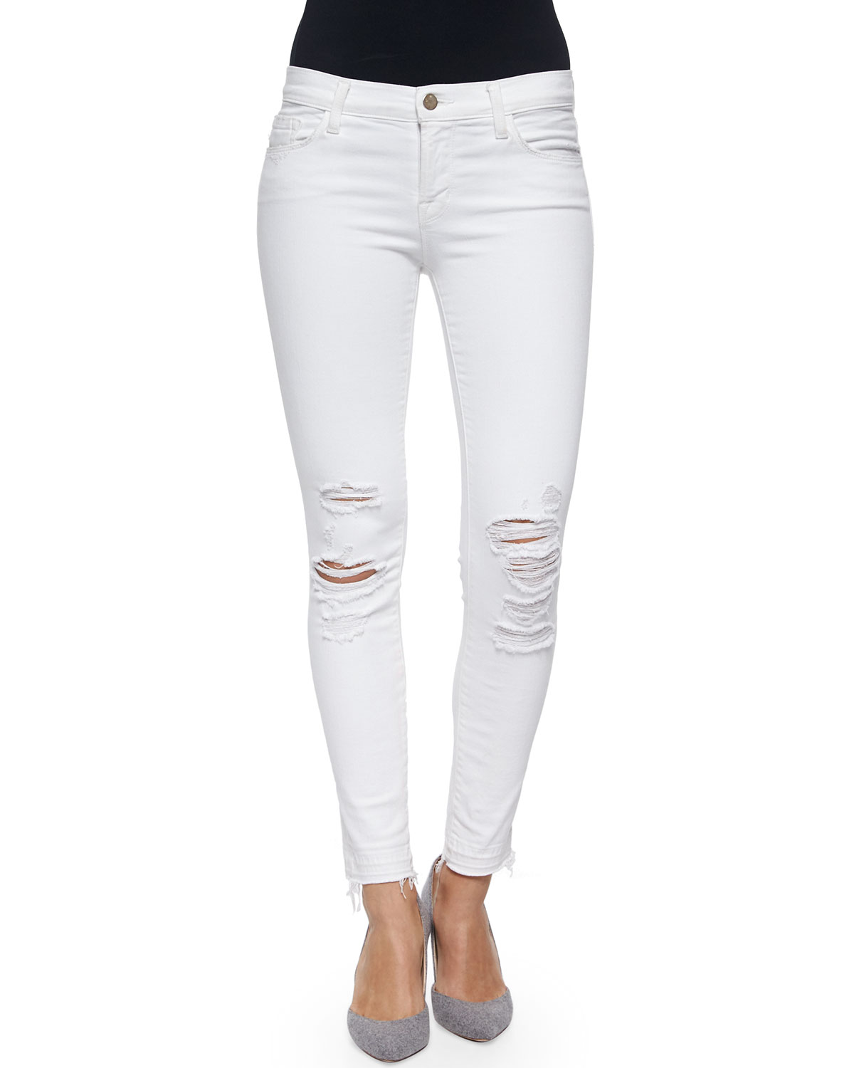 Low-Rise Skinny Crop Jeans, Demented, White