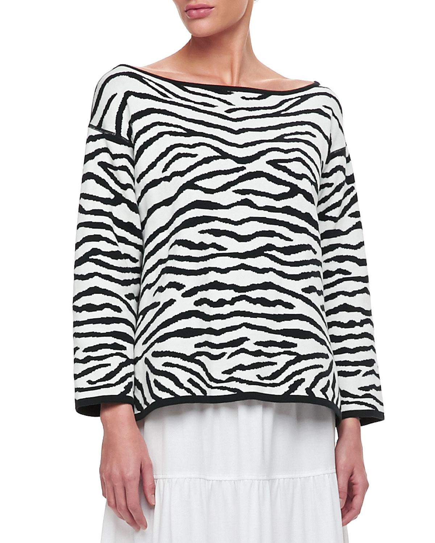 Reversible Animal Print Pullover Sweater, Petite