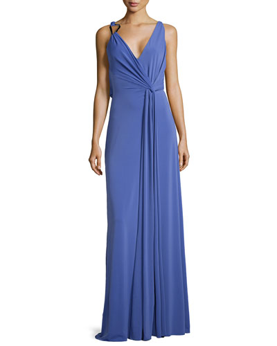 Sleeveless Cowl-Back Jersey Dress