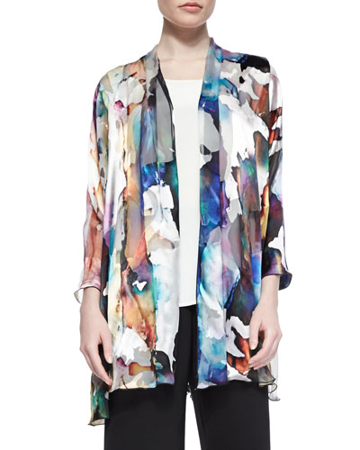 Hand-Painted Silk-Blend Devore Cardigan, Petite
