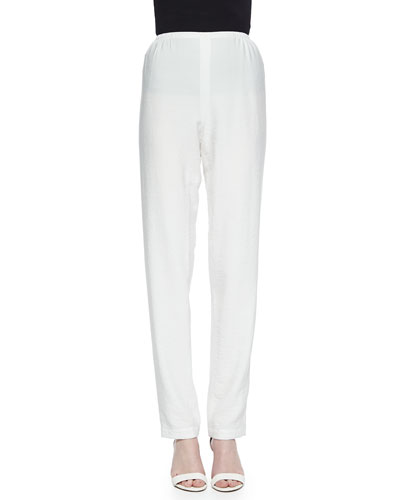 Cabo Crinkle Straight-Leg Pants, White, Plus Size