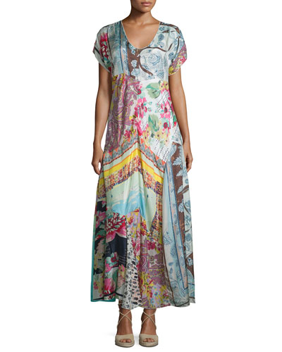Printed Georgette Maxi Dress, Plus Size