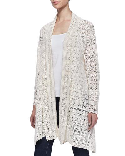 Long Crochet Open Jacket, Natural
