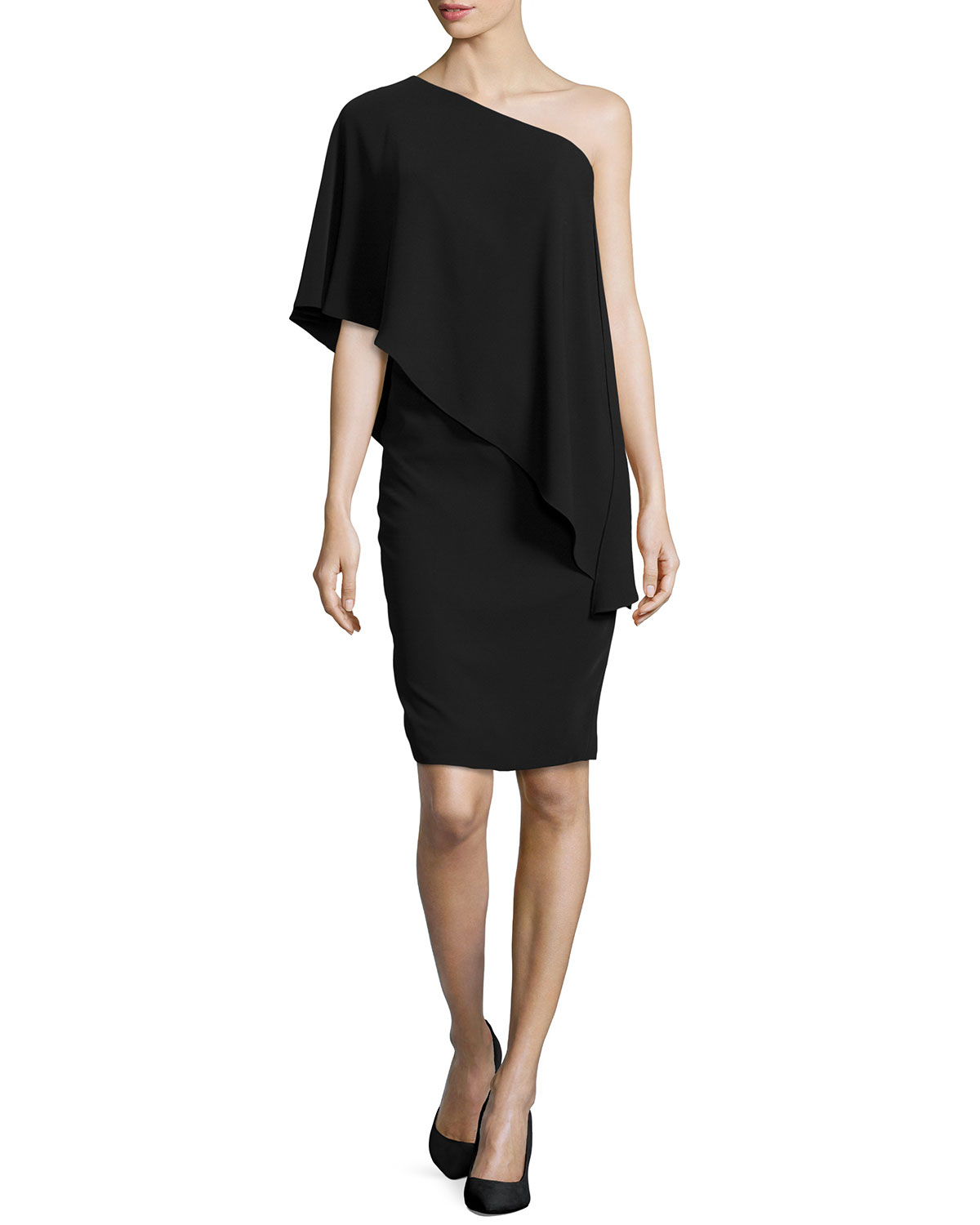 One-Shoulder Cape Cocktail Dress, Black