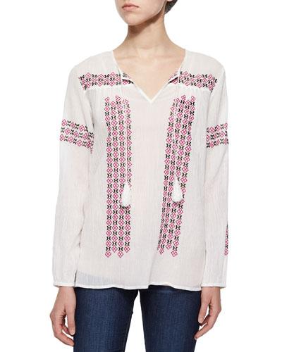 Nira Embroidered Voile Tassel Blouse