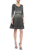 3/4-Sleeve Metallic Fit-and-Flare Dress