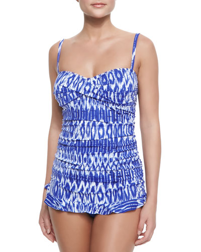 Printed Ruched Ruffled One-Piece Swimsuit