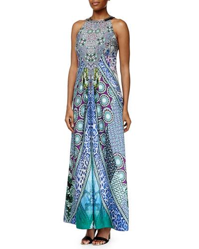 Sleeveless Beaded-Neck Geometric-Print Maxi Dress
