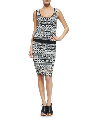 Cassie Sleeveless Geometric-Print Dress, Black/White