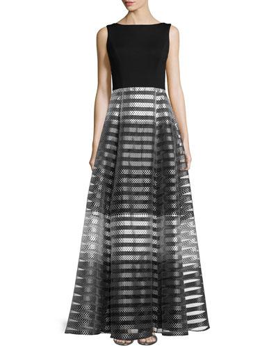 Sleeveless Striped Full-Skirt Gown