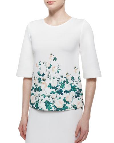 Half-Sleeve Floral-Print Top