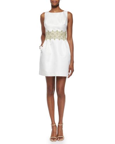 Sleeveless Lace-Waist Jacquard Cocktail Dress