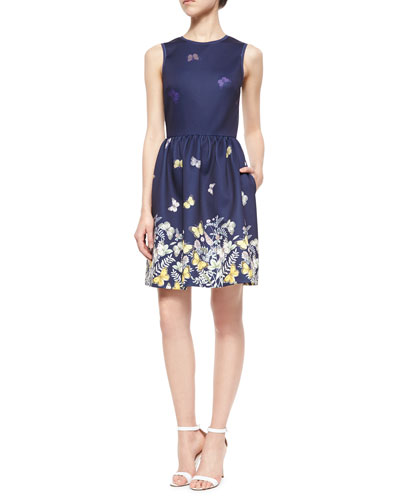 Sleeveless Floral & Butterfly Fit-and-Flare Dress