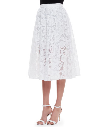 Midi Lace Skirt, White