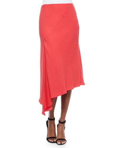 Bias-Cut Woven Crepe Skirt