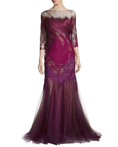 3/4-Sleeve Mermaid Gown