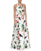 Courtland Sleeveless Floral-Print Ball Gown