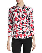 Graphic Print Classic Blouse, Red/Black/White