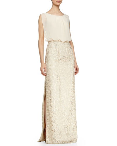 Chiffon-Top Lace-Skirt Gown, Champagne
