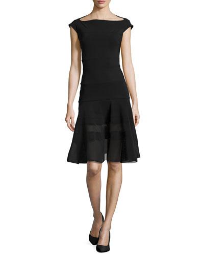 Orlanda Cap-Sleeve Illusion Dress