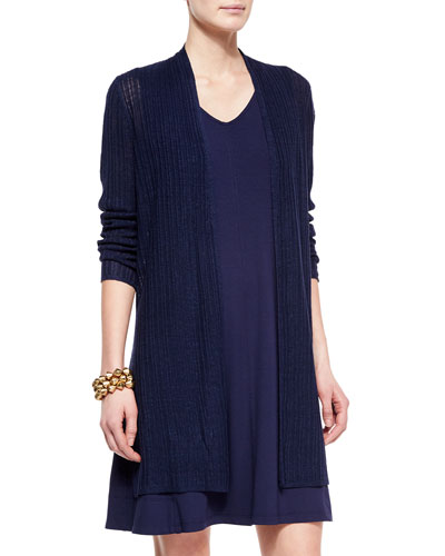 Ribbed Washable Organic Linen Cardigan, Midnight