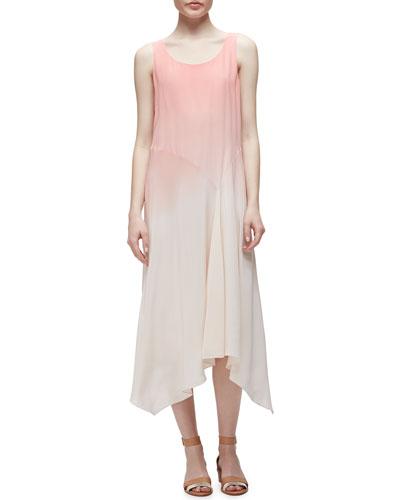 Ombre Silk Long Dress, Seashell