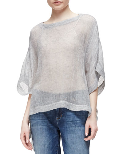 Linen-Blend Mesh Short-Sleeve Poncho Top, Pewter